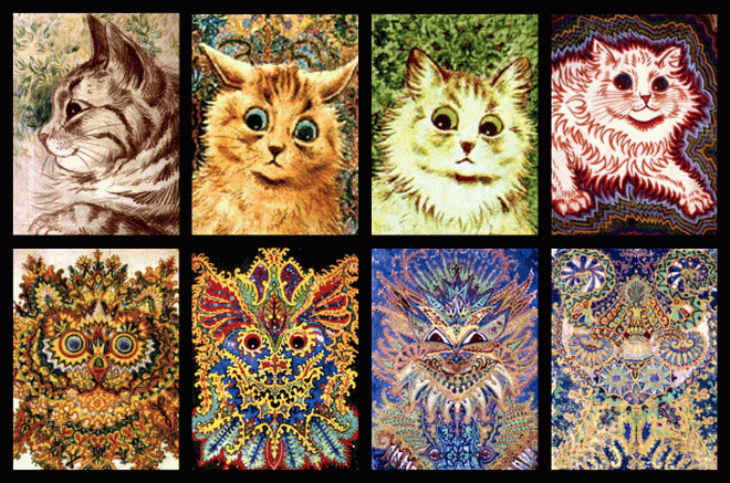 Louise Wain - schizophrenic cat progression