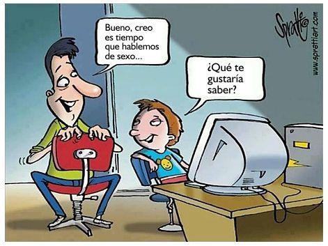 caricatura - hablar de sexualidad con los hijos