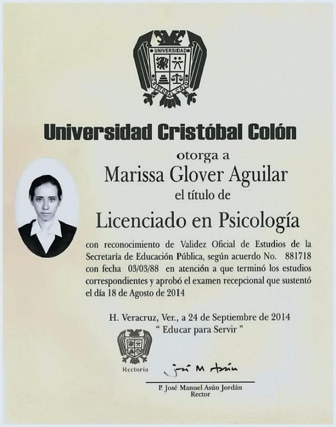 Título Profesional Marissa Glover Aguilar